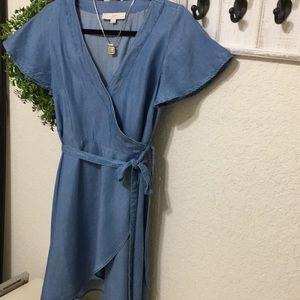 Loft lightweight denim wrap dress